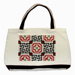 Vintage Style Seamless Black, White And Red Tile Pattern Wallpaper Background Basic Tote Bag