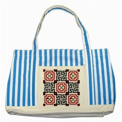 Vintage Style Seamless Black, White And Red Tile Pattern Wallpaper Background Striped Blue Tote Bag