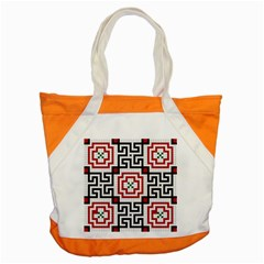 Vintage Style Seamless Black, White And Red Tile Pattern Wallpaper Background Accent Tote Bag