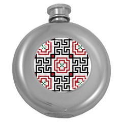 Vintage Style Seamless Black, White And Red Tile Pattern Wallpaper Background Round Hip Flask (5 oz)