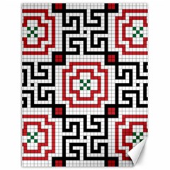 Vintage Style Seamless Black, White And Red Tile Pattern Wallpaper Background Canvas 12  X 16