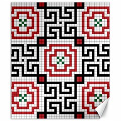 Vintage Style Seamless Black, White And Red Tile Pattern Wallpaper Background Canvas 20  X 24