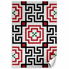 Vintage Style Seamless Black, White And Red Tile Pattern Wallpaper Background Canvas 24  X 36
