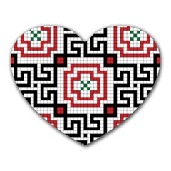 Vintage Style Seamless Black, White And Red Tile Pattern Wallpaper Background Heart Mousepads