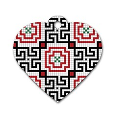 Vintage Style Seamless Black, White And Red Tile Pattern Wallpaper Background Dog Tag Heart (Two Sides)