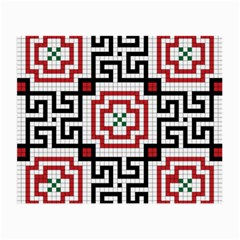 Vintage Style Seamless Black, White And Red Tile Pattern Wallpaper Background Small Glasses Cloth (2-Side)