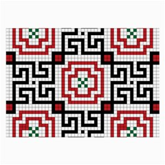 Vintage Style Seamless Black, White And Red Tile Pattern Wallpaper Background Large Glasses Cloth
