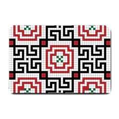 Vintage Style Seamless Black, White And Red Tile Pattern Wallpaper Background Small Doormat