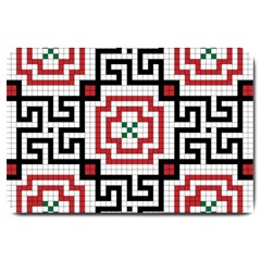 Vintage Style Seamless Black, White And Red Tile Pattern Wallpaper Background Large Doormat