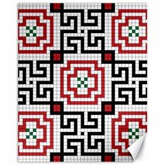 Vintage Style Seamless Black, White And Red Tile Pattern Wallpaper Background Canvas 11  x 14