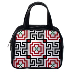 Vintage Style Seamless Black, White And Red Tile Pattern Wallpaper Background Classic Handbags (one Side)