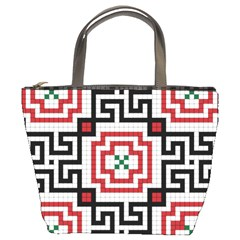 Vintage Style Seamless Black, White And Red Tile Pattern Wallpaper Background Bucket Bags