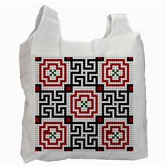 Vintage Style Seamless Black, White And Red Tile Pattern Wallpaper Background Recycle Bag (One Side)