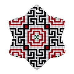 Vintage Style Seamless Black, White And Red Tile Pattern Wallpaper Background Snowflake Ornament (Two Sides)