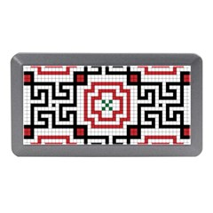 Vintage Style Seamless Black, White And Red Tile Pattern Wallpaper Background Memory Card Reader (Mini)