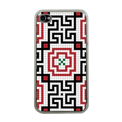 Vintage Style Seamless Black, White And Red Tile Pattern Wallpaper Background Apple iPhone 4 Case (Clear)