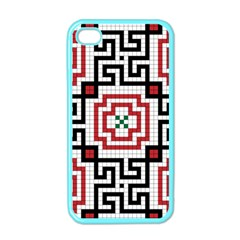 Vintage Style Seamless Black, White And Red Tile Pattern Wallpaper Background Apple Iphone 4 Case (color)
