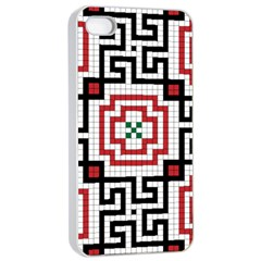 Vintage Style Seamless Black, White And Red Tile Pattern Wallpaper Background Apple iPhone 4/4s Seamless Case (White)