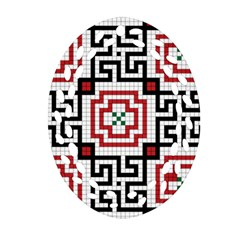 Vintage Style Seamless Black, White And Red Tile Pattern Wallpaper Background Ornament (Oval Filigree)