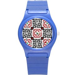 Vintage Style Seamless Black, White And Red Tile Pattern Wallpaper Background Round Plastic Sport Watch (S)