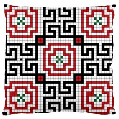Vintage Style Seamless Black, White And Red Tile Pattern Wallpaper Background Large Cushion Case (One Side)