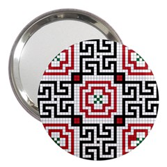 Vintage Style Seamless Black, White And Red Tile Pattern Wallpaper Background 3  Handbag Mirrors