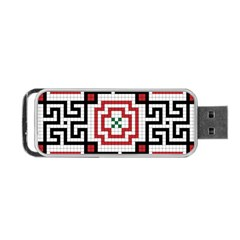 Vintage Style Seamless Black, White And Red Tile Pattern Wallpaper Background Portable USB Flash (One Side)