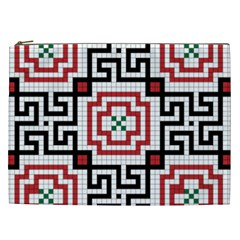 Vintage Style Seamless Black, White And Red Tile Pattern Wallpaper Background Cosmetic Bag (XXL)