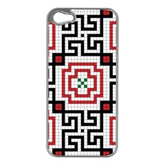 Vintage Style Seamless Black, White And Red Tile Pattern Wallpaper Background Apple iPhone 5 Case (Silver)