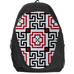 Vintage Style Seamless Black, White And Red Tile Pattern Wallpaper Background Backpack Bag