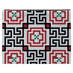 Vintage Style Seamless Black, White And Red Tile Pattern Wallpaper Background Cosmetic Bag (xxxl)