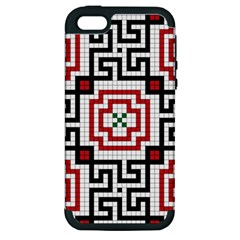 Vintage Style Seamless Black, White And Red Tile Pattern Wallpaper Background Apple iPhone 5 Hardshell Case (PC+Silicone)