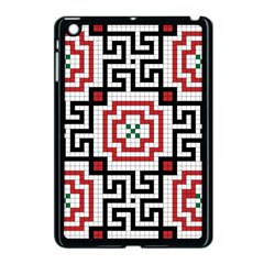 Vintage Style Seamless Black, White And Red Tile Pattern Wallpaper Background Apple Ipad Mini Case (black)
