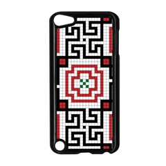 Vintage Style Seamless Black, White And Red Tile Pattern Wallpaper Background Apple iPod Touch 5 Case (Black)