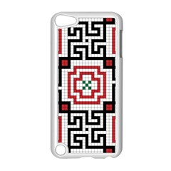 Vintage Style Seamless Black, White And Red Tile Pattern Wallpaper Background Apple iPod Touch 5 Case (White)