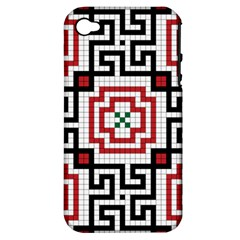 Vintage Style Seamless Black, White And Red Tile Pattern Wallpaper Background Apple iPhone 4/4S Hardshell Case (PC+Silicone)