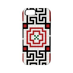 Vintage Style Seamless Black, White And Red Tile Pattern Wallpaper Background Apple iPhone 5 Classic Hardshell Case (PC+Silicone)