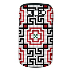 Vintage Style Seamless Black, White And Red Tile Pattern Wallpaper Background Samsung Galaxy S III Classic Hardshell Case (PC+Silicone)