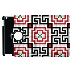 Vintage Style Seamless Black, White And Red Tile Pattern Wallpaper Background Apple iPad 2 Flip 360 Case