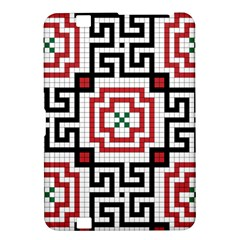 Vintage Style Seamless Black, White And Red Tile Pattern Wallpaper Background Kindle Fire HD 8.9