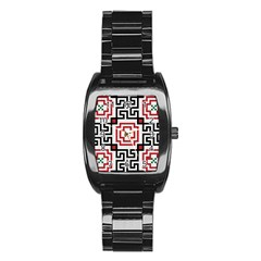 Vintage Style Seamless Black, White And Red Tile Pattern Wallpaper Background Stainless Steel Barrel Watch
