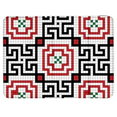 Vintage Style Seamless Black, White And Red Tile Pattern Wallpaper Background Samsung Galaxy Tab 7  P1000 Flip Case
