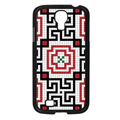 Vintage Style Seamless Black, White And Red Tile Pattern Wallpaper Background Samsung Galaxy S4 I9500/ I9505 Case (Black)