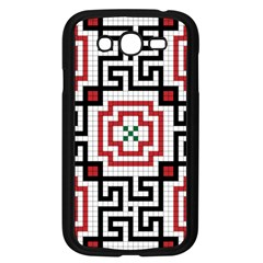 Vintage Style Seamless Black, White And Red Tile Pattern Wallpaper Background Samsung Galaxy Grand DUOS I9082 Case (Black)