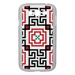 Vintage Style Seamless Black, White And Red Tile Pattern Wallpaper Background Samsung Galaxy Grand DUOS I9082 Case (White)
