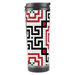 Vintage Style Seamless Black, White And Red Tile Pattern Wallpaper Background Travel Tumbler
