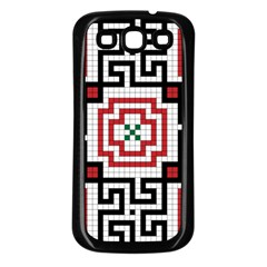 Vintage Style Seamless Black, White And Red Tile Pattern Wallpaper Background Samsung Galaxy S3 Back Case (black)