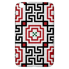 Vintage Style Seamless Black, White And Red Tile Pattern Wallpaper Background Samsung Galaxy Tab 3 (8 ) T3100 Hardshell Case