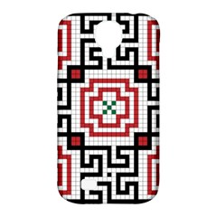 Vintage Style Seamless Black, White And Red Tile Pattern Wallpaper Background Samsung Galaxy S4 Classic Hardshell Case (PC+Silicone)