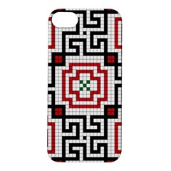 Vintage Style Seamless Black, White And Red Tile Pattern Wallpaper Background Apple iPhone 5S/ SE Hardshell Case